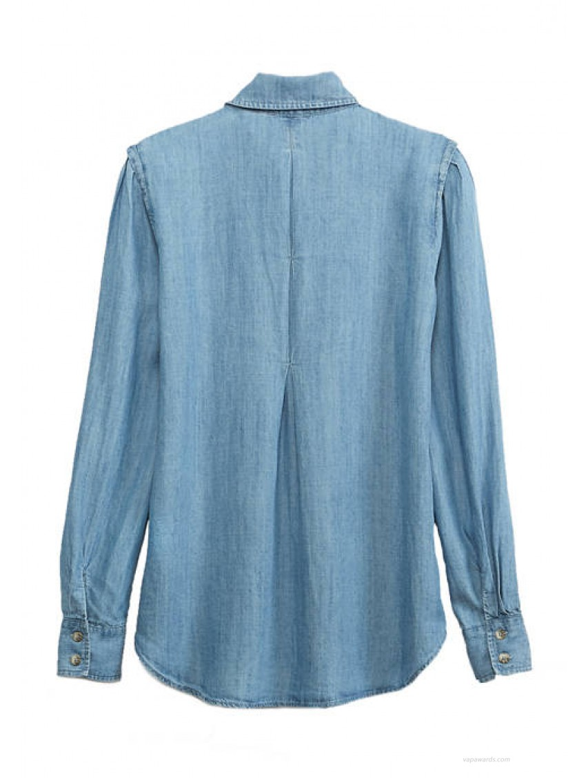 Democracy Women's Chambray Long Sleeve Button Down Top