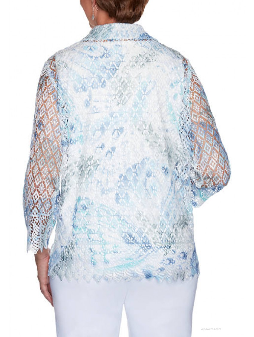 Alfred Dunner Women's French Bistro Butterfly Lace 2Fer Top